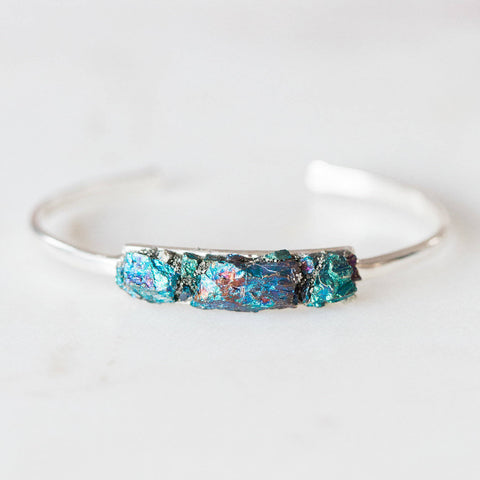 Chalcopyrite + pyrite mosaic sterling silver bangle bracelet boho chic jewelry spiritual jewelry gemstone cuff bracelet crushed crystals