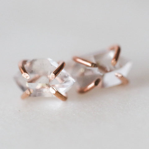 Raw herkimer diamond gemstone stud earrings * I Am Creative * sterling silver / rose gold filled spiritual rough gemstones April birthstone
