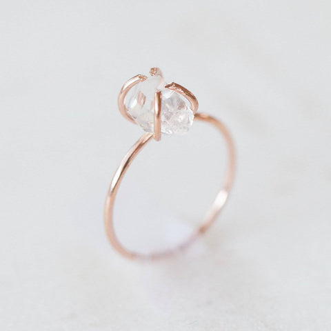Raw herkimer diamond quartz mosaic gemstones 14k rose gold filled ring |  rough gemstone ring crystals gemstones alternative engagement ring
