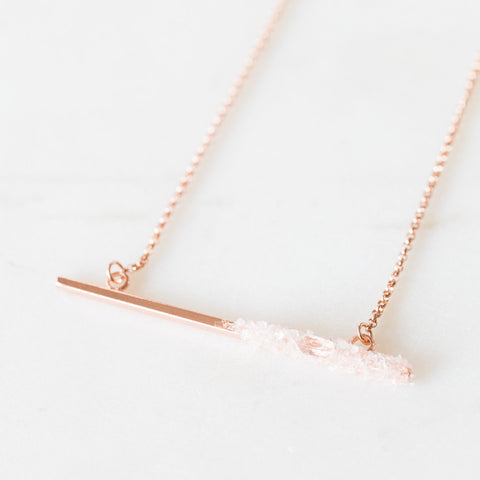 Herkimer Diamond and 14k rose gold filled crystal mosaic bar layering necklace - April birthstone, delicate rose gold necklace crushed