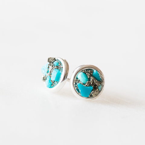 Natural turquoise + pyrite mosaic gemstones sterling silver stud earrings, sterling silver spiritual rough crystals crushed gemstones