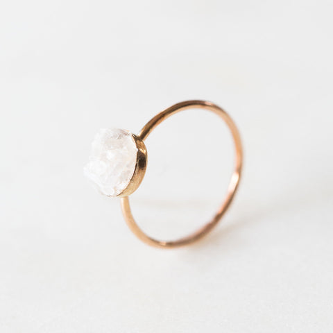 White moonstone mosaic gemstones 14k rose gold filled ring, rose gold druzy ring rough gemstones crystals crushed gemstones
