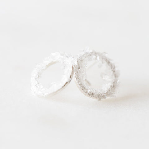 Raw herkimer diamond quartz mosaic gemstones sterling silver round stud earrings | minimalist stud earrings | raw stone hoops
