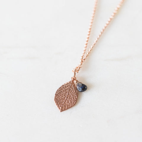 Sapphire + leaf rose gold filled charm necklace | I Am Perfect | rose gold vermeil leaf gemstone necklace | delicate layering necklace
