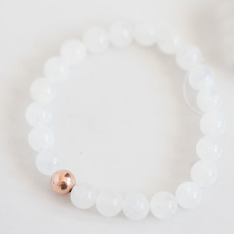 Moonstone wrist mala bracelet | I Am Intuitive | rose gold yoga meditation | spiritual jewelry for her | minimalist gemstone bracelet