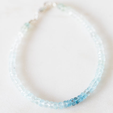 Ombre aquamarine faceted rondelle gemstone bracelet in sterling silver or rose gold filled, delicate stacking bracelet, minimalist bracelet