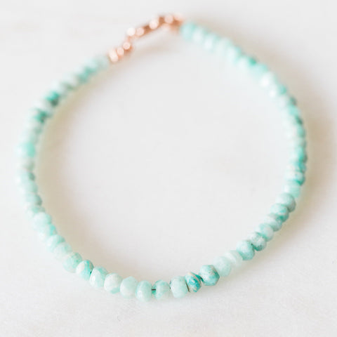 Amazonite faceted rondelle gemstone bracelet in sterling silver or rose gold filled | delicate stacking bracelet | minimalist bracelet