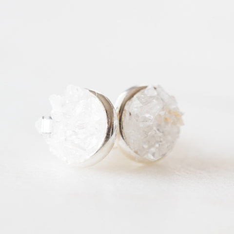 Raw herkimer diamond quartz mosaic gemstones sterling silver stud earrings, sterling silver spiritual rough gemstones crystals