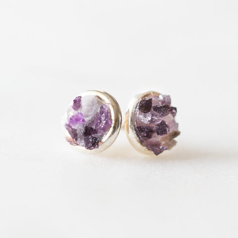 Raw amethyst + crystal quartz mosaic gemstones sterling silver stud earrings, sterling silver spiritual rough gemstones crushed crystals