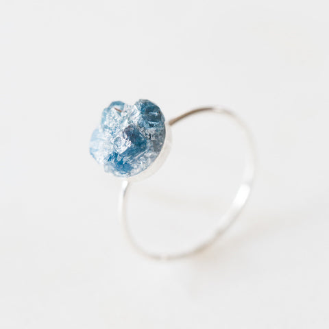 Raw sapphire mosaic gemstone sterling silver ring | sterling silver sapphire ring | rough gemstones crystals crushed gemstones