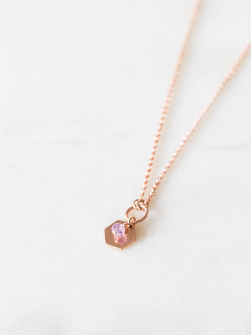 Amethyst + hexagon gemstone charm necklace |  | 14k rose gold filled gemstone delicate necklace | layering necklace | geometric necklace