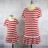 Mom and Daughter Striped Pepermint Dress