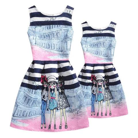 Summer Girls Dress Mother and Daughter Clothes