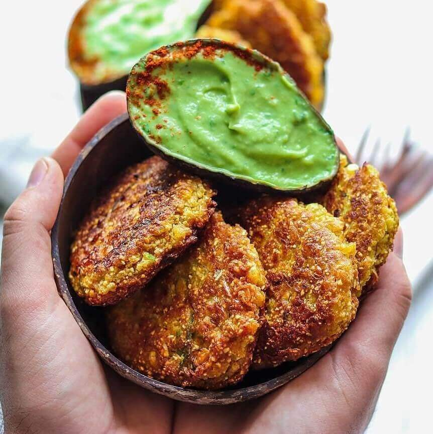 Spicy Corn Fritters with an Avocado Basil Dip