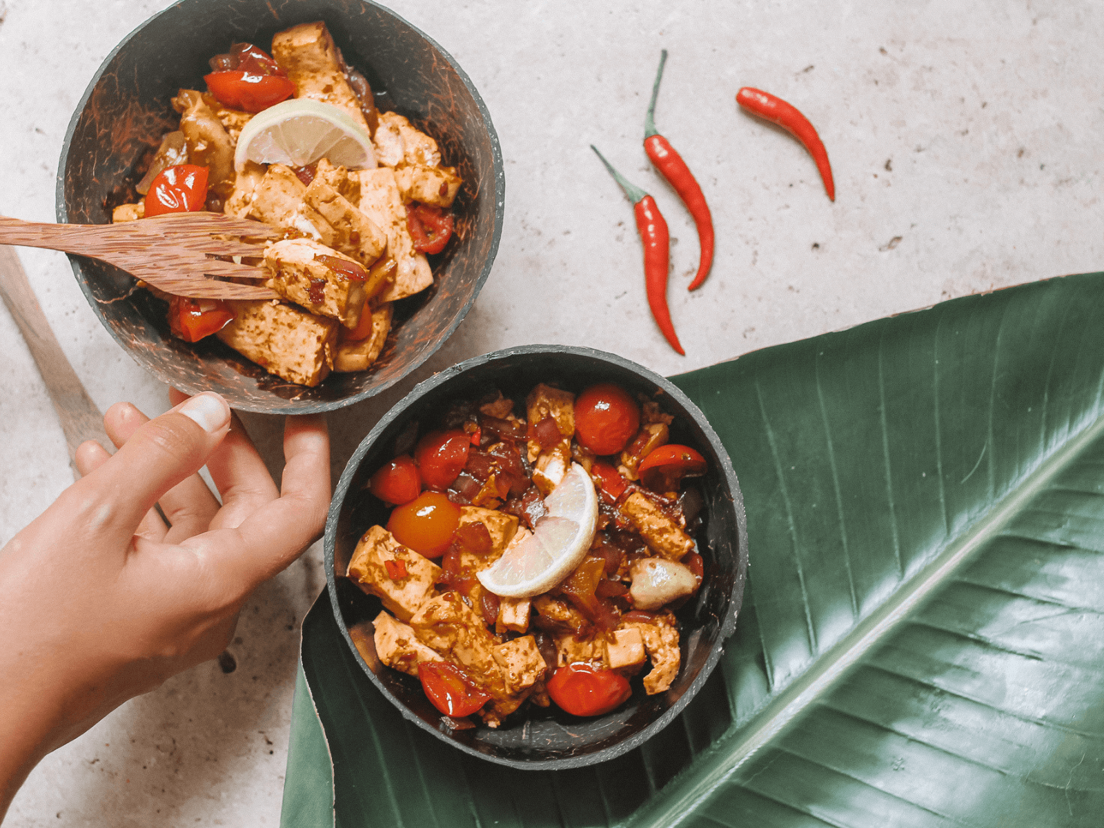 Sri Lankan Style Tofu Curry with Cherry Tomatoes