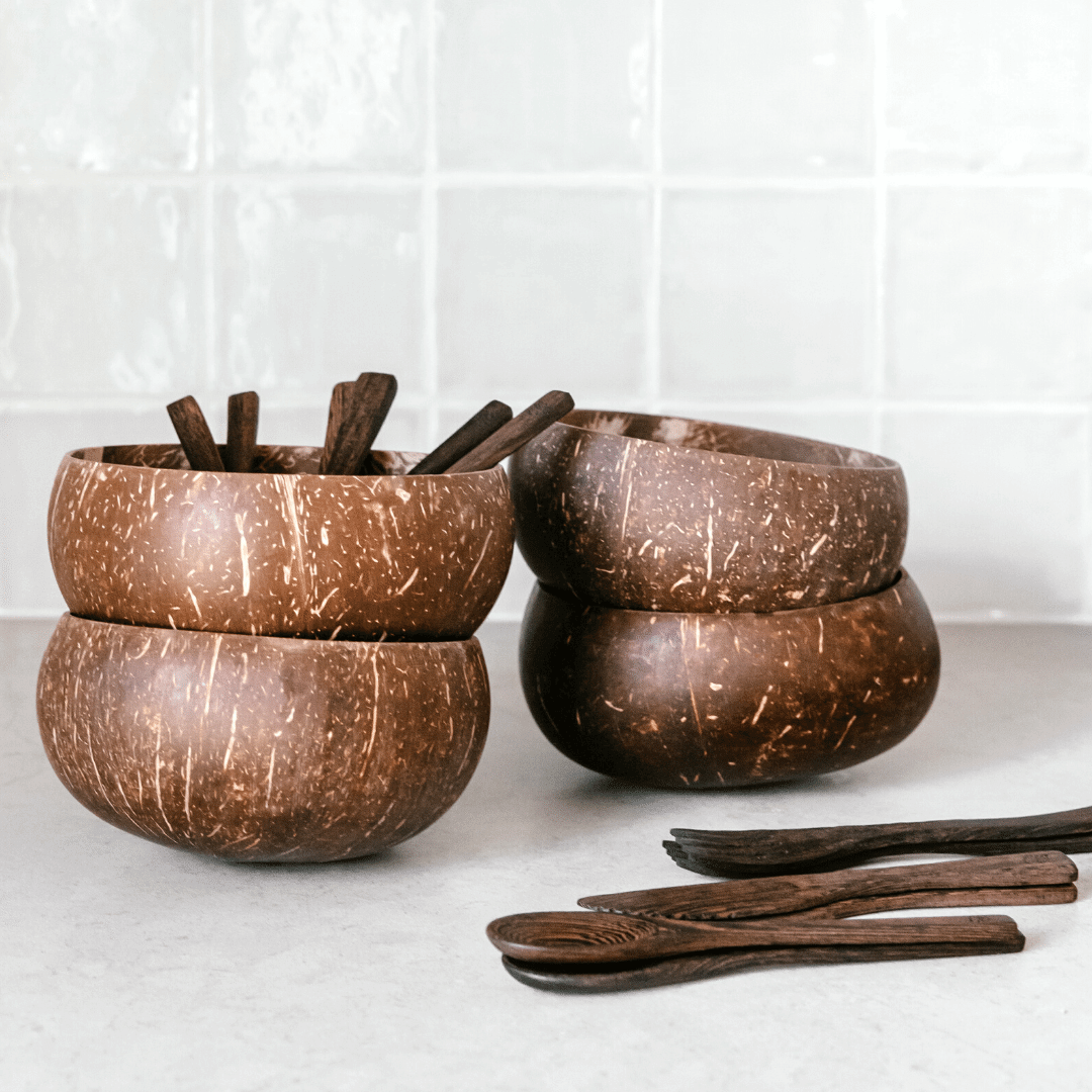 Jumbo Coconut Bowls - Family Pack - All Cutlery