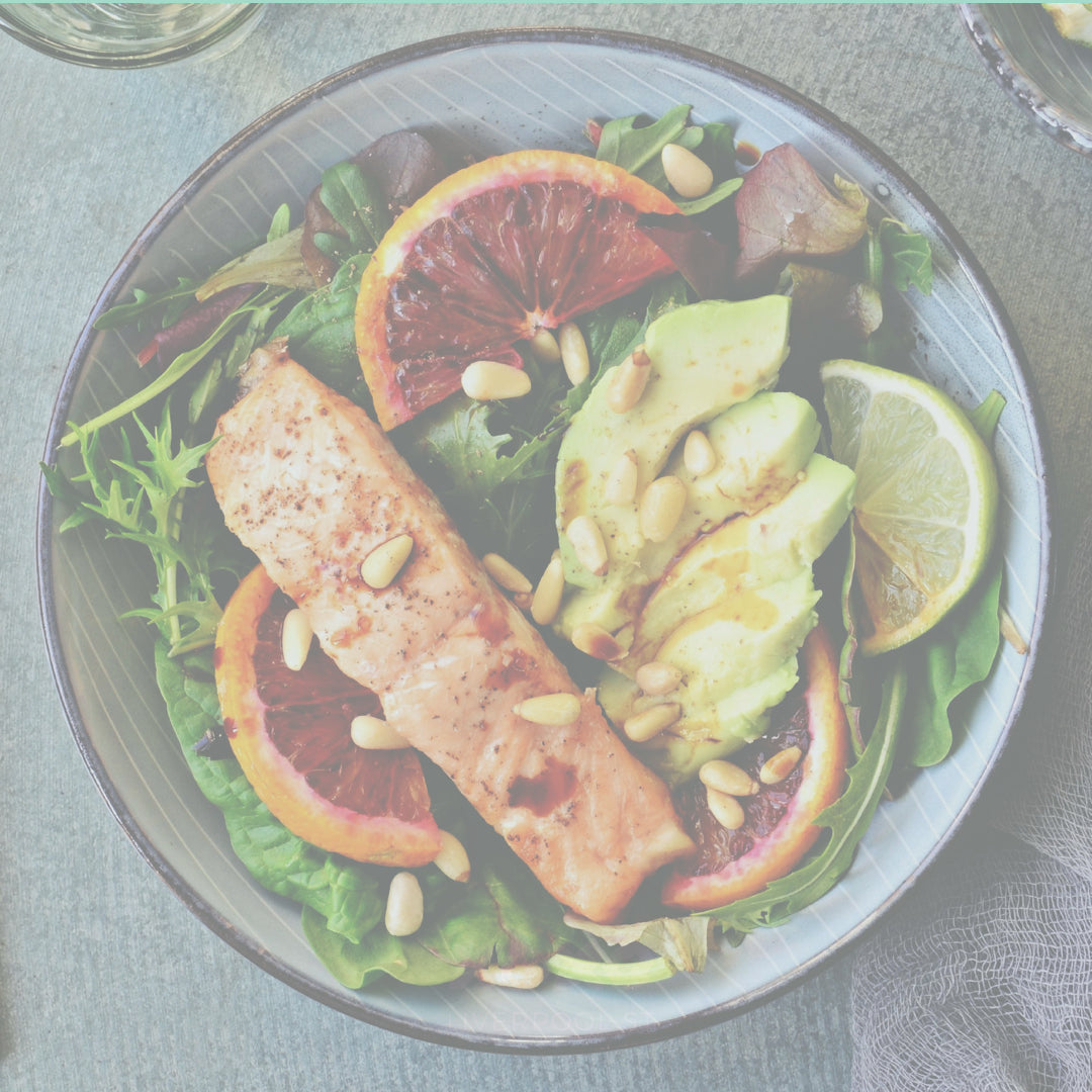 Steamed Salmon and Avocado Salad - good for your uterine health!