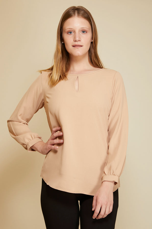 Blusa lisa manga larga