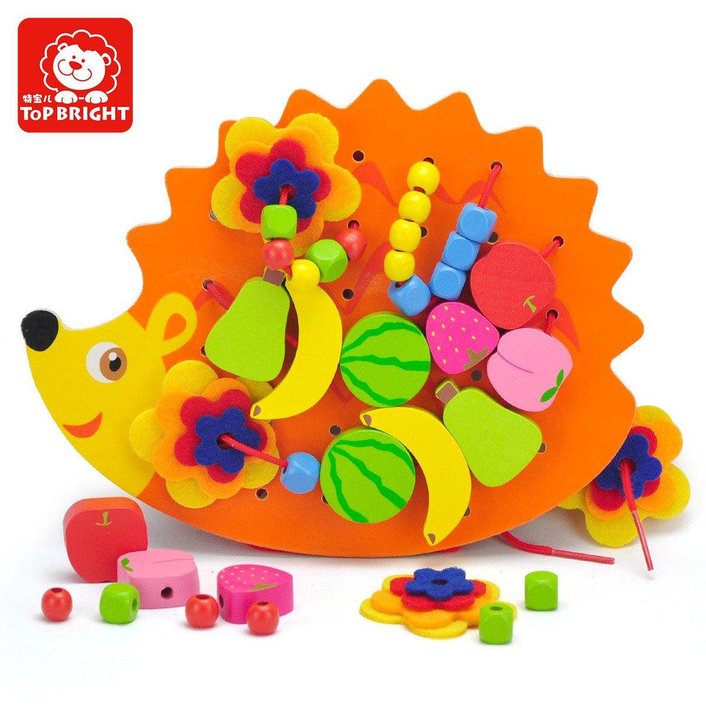 Wooden Hedgehog Lacing Beads Game by Top Bright