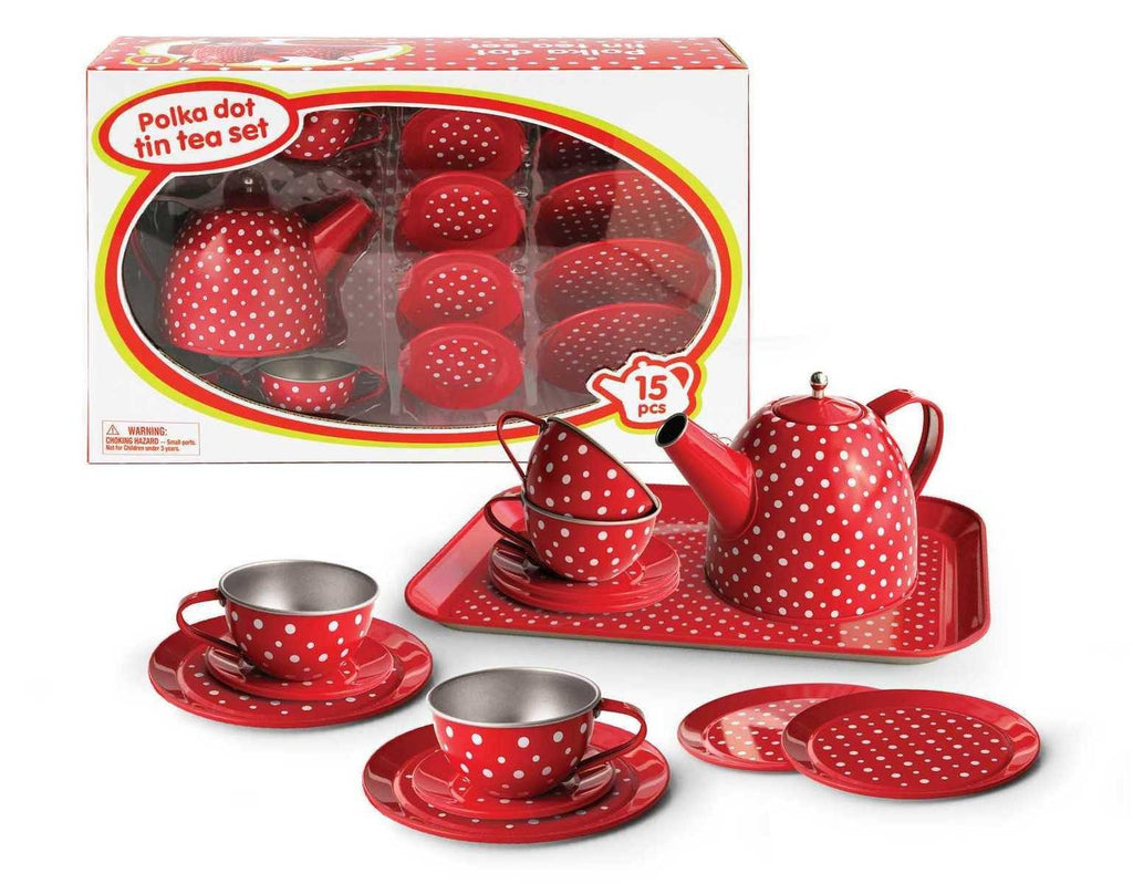 Red Polka Dot Tin Tea Set - 15 Pcs