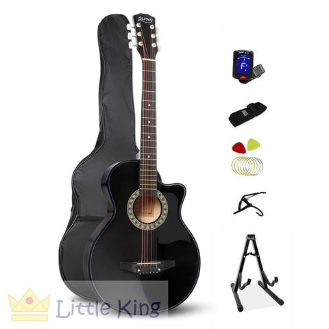 38 Inch Wooden Folk Acoustic Guitar - Black