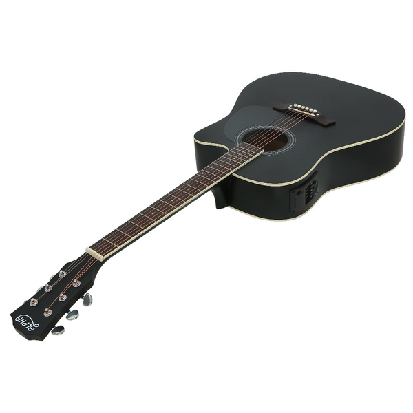Alpha 41 Inch Electric Acoustic Guitar Wooden Classical Full Size EQ Bass Black