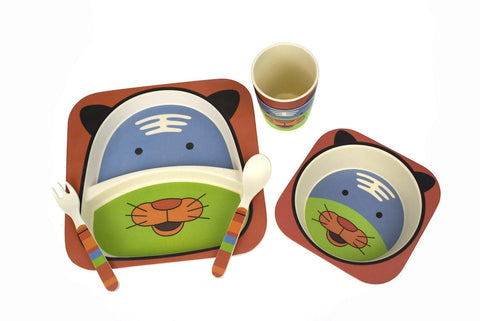 BambooZoo Kids Dinnerware 5 Pcs - Tiger