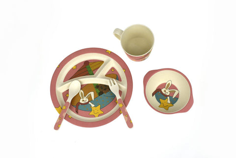 BambooZoo Kids Dinnerware 5 Pcs - Star Rabbit