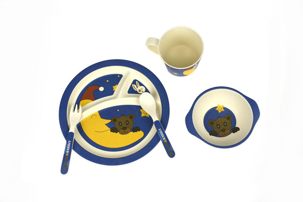 BambooZoo Kids Dinnerware 5 Pcs - Bear Rabbit