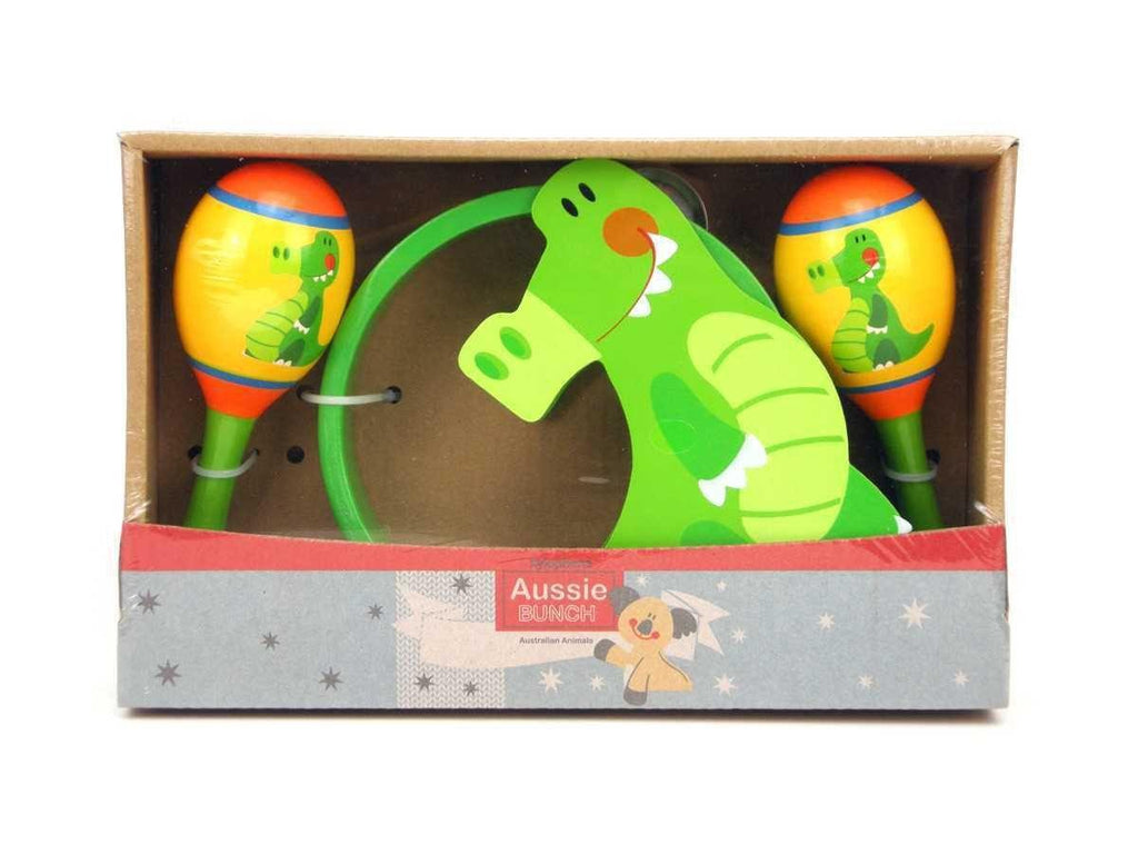 Wooden Maraca & Tambourine Set - Crocodile