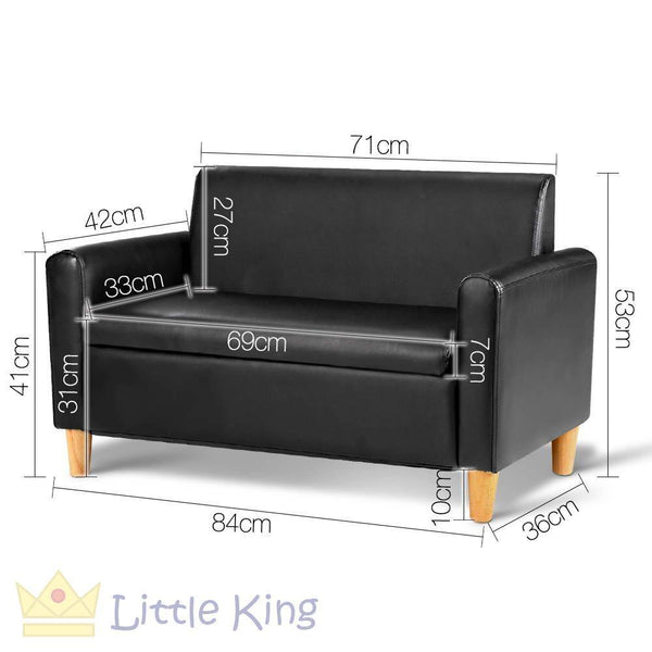 Double Couch for Kids - Black