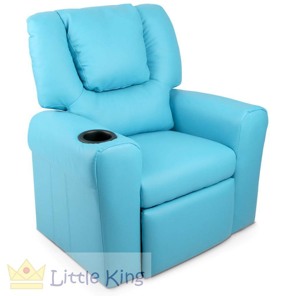 Kids Padded PU Leather Recliner Chair - Blue