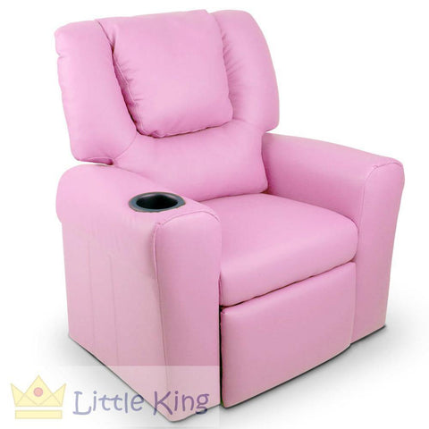 Kids Padded PU Leather Recliner Chair - Pink