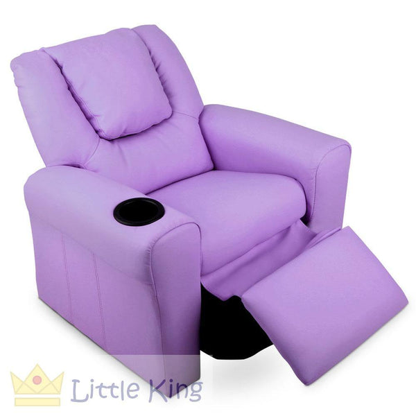 Kids Padded PU Leather Recliner Chair - Purple