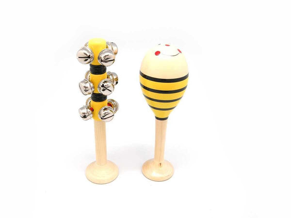 Wooden Maraca & Bell Stick Set - Bee