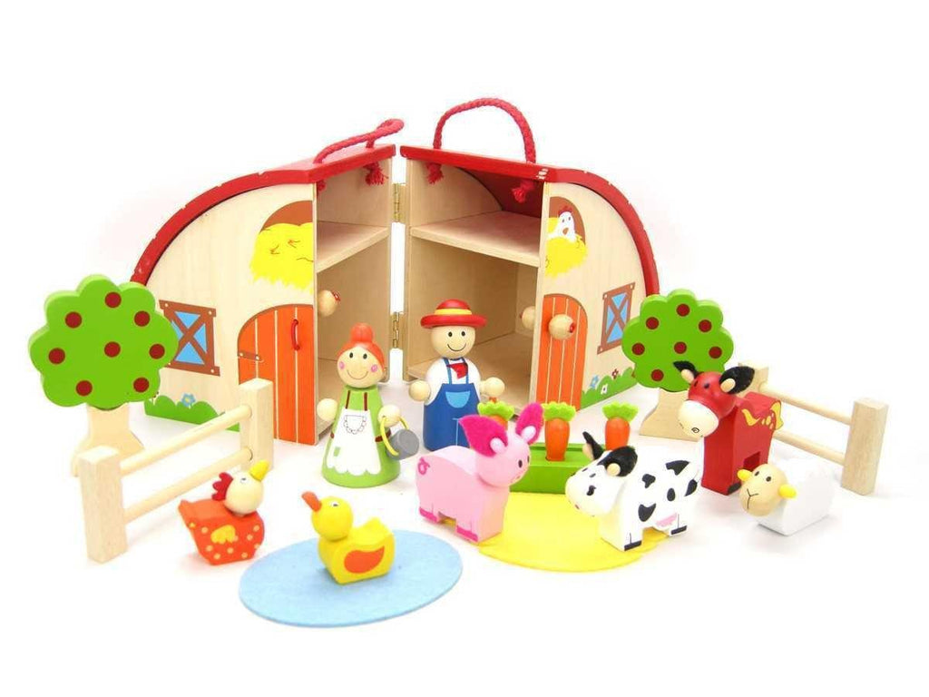 Wooden Farm Playset with Carry House by Kaper Kidz