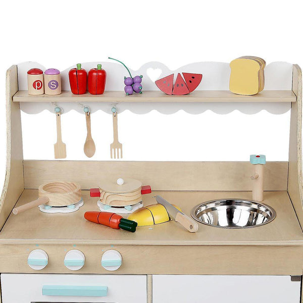 Wooden Kitchen Set 15 piece - Natural & White