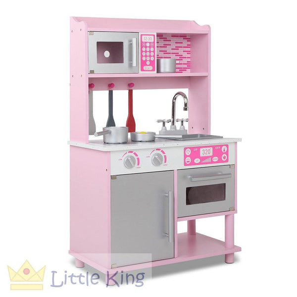 Kids Wooden Kitchen Playset Pink 3