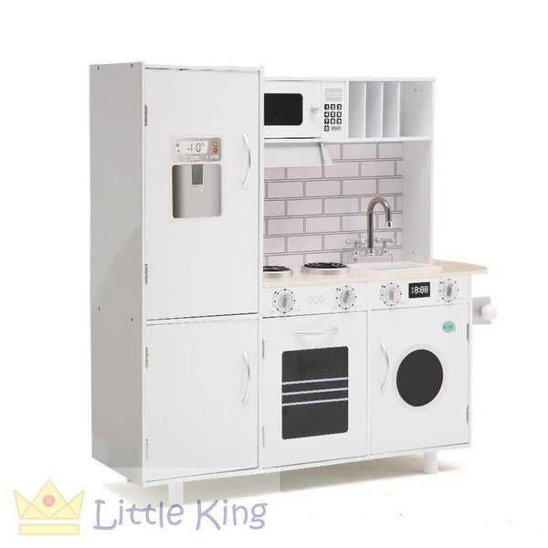 Wooden Kitchen Pretend Play Set Keezi - White