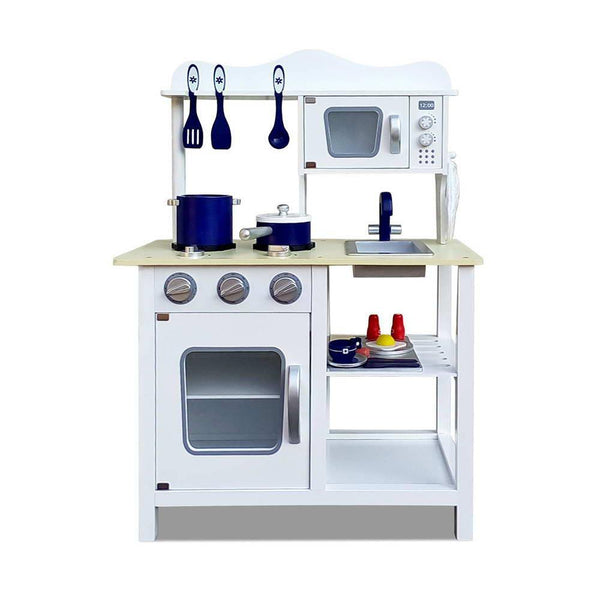 Wooden 18 Piece Kitchen Play Set – White & Blue
