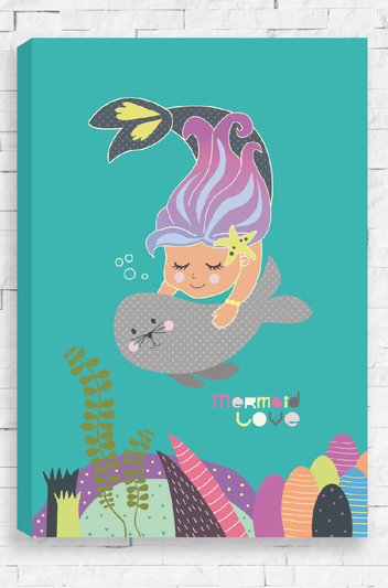 Mermaid Love - Aqua Canvas