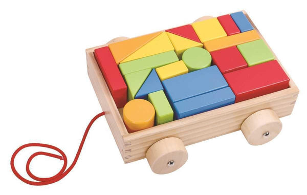 Wooden Pull A Block Cart by Tooky Toy