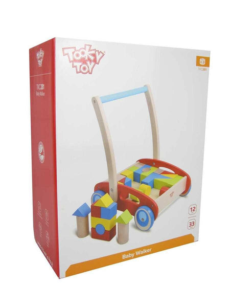 Wooden Baby Walker with Building Blocks by Tooky Toy