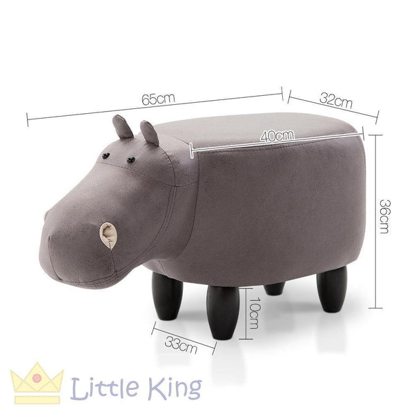 Kids Hippo Animal Stool Grey