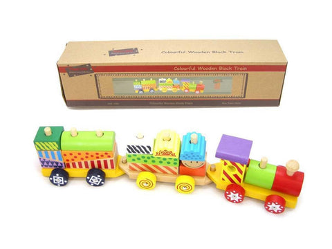 Wooden Colorful Block Train by Kaper Kidz