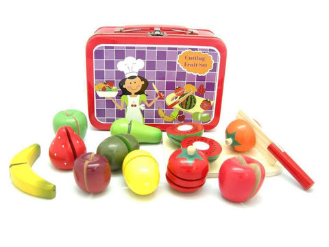Wooden Fruit Set in Tin Case