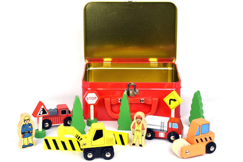 Wooden Construction Set in Tin Box