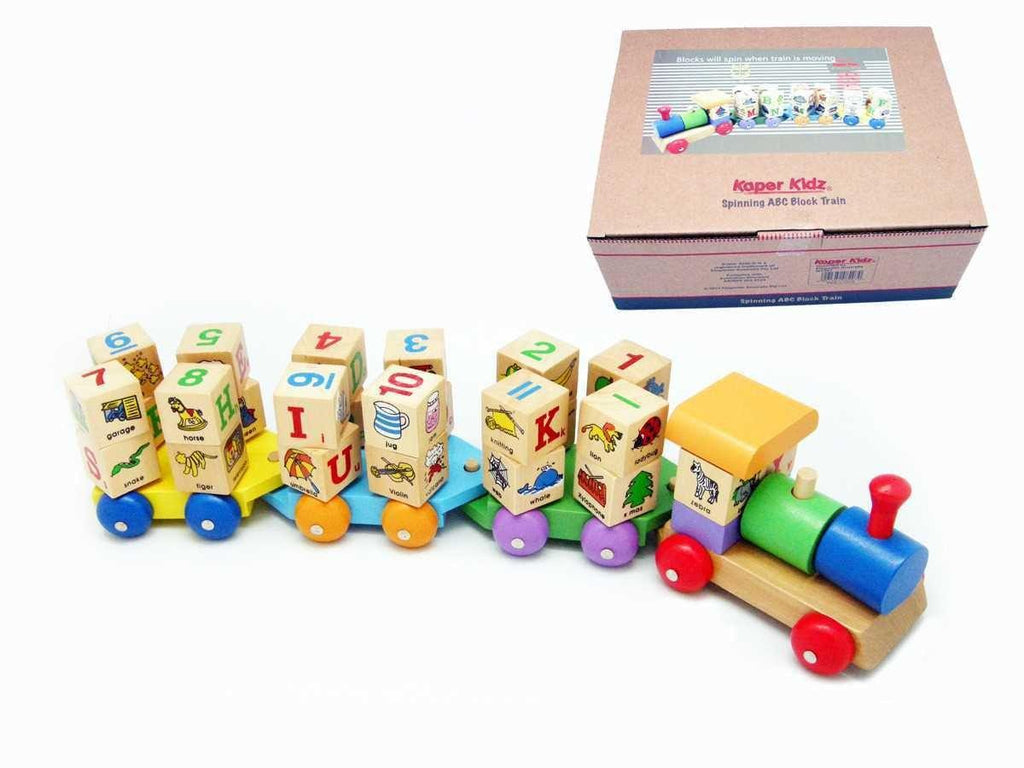 Wooden ABC Block Train by Kaper Kidz