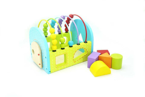 Wooden Block House with Abacus by Kaper Kidz