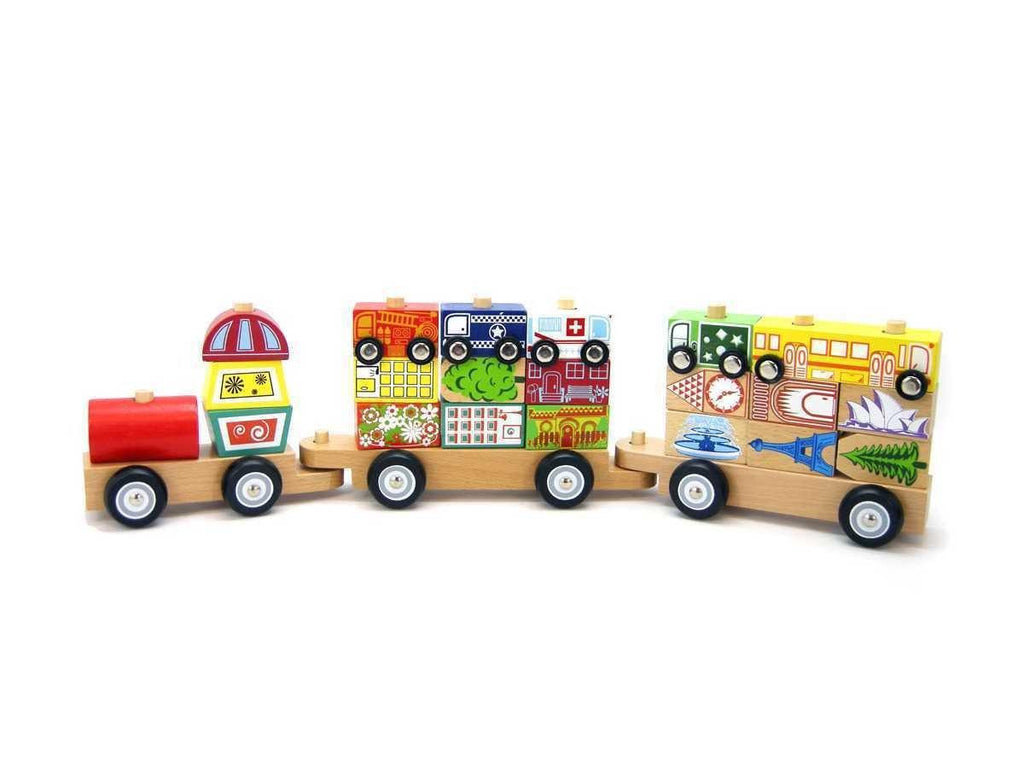Wooden City Block Train with Cars by Tooky Toy